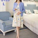 ชุดSET 2ชิ้น เสื้อคลุมนอกแขนยาวคอกลมสีฟ้า + เดรสกระโปรงสายเดี่ยวลายดอกไม้ สีไข่ไก่ ไซร์L