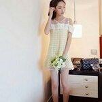 mesh stitching hook flower hollow strapless short-sleeved dress